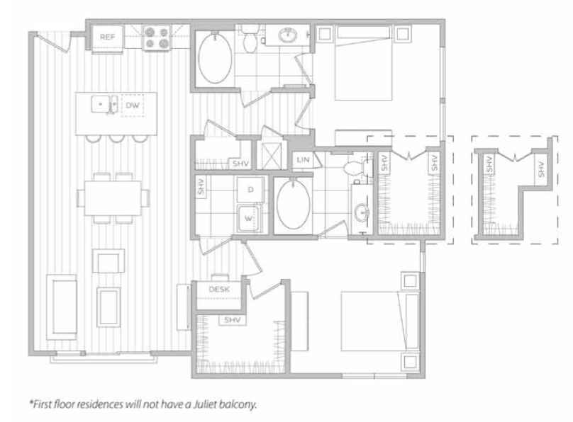 1,164 sq. ft. J floor plan
