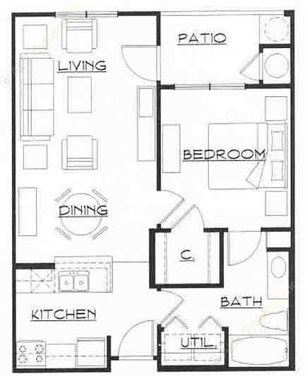 650 sq. ft. Mkt floor plan