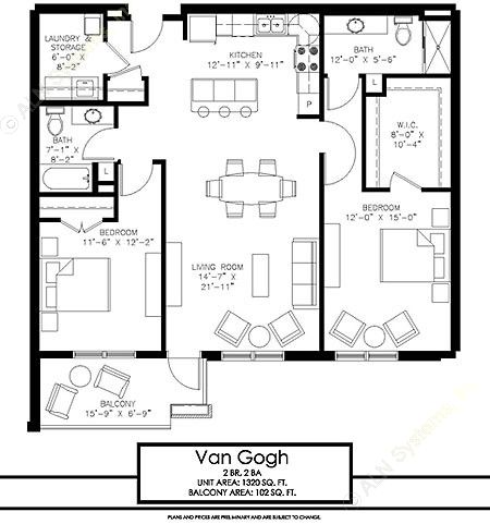 1,320 sq. ft. Van Gogh floor plan