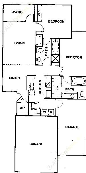 1,095 sq. ft. Garnier floor plan
