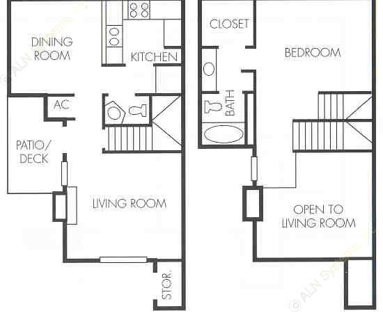 905 sq. ft. C1 floor plan