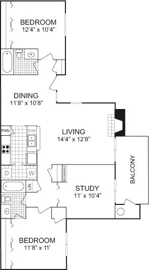 1,089 sq. ft. floor plan
