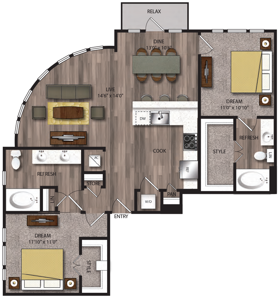 1,185 sq. ft. B9.1 floor plan