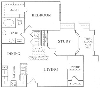 907 sq. ft. B1S floor plan