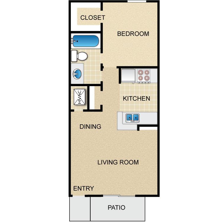 561 sq. ft. floor plan