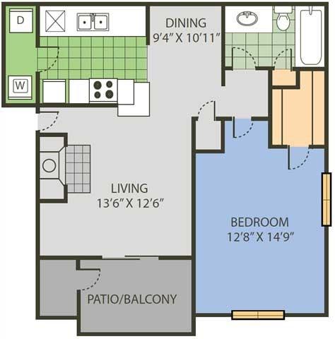 751 sq. ft. Court floor plan