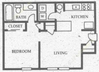 464 sq. ft. A1 floor plan