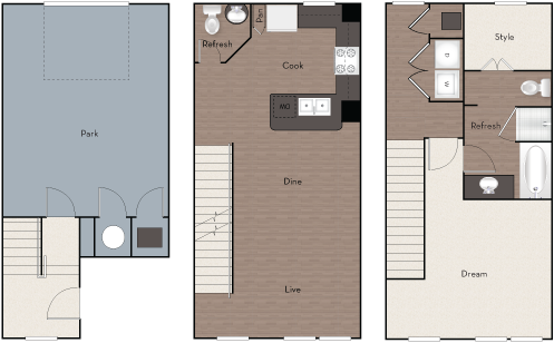 1,049 sq. ft. TH1 floor plan