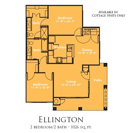 1,026 sq. ft. ELLINGTON/60% floor plan