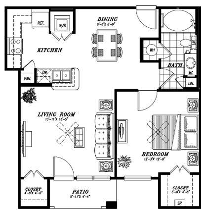756 sq. ft. A4E floor plan