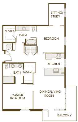 1,298 sq. ft. B2AD floor plan