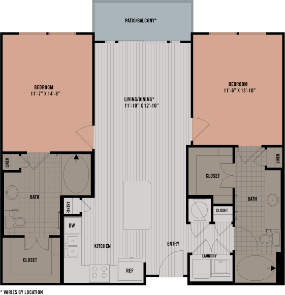 1,069 sq. ft. B1 floor plan