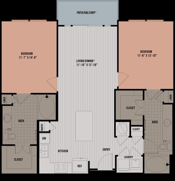 1,069 sq. ft. B1A floor plan