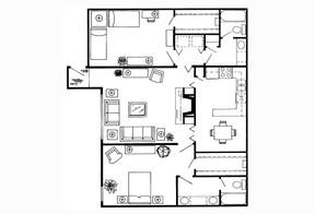 1,253 sq. ft. D floor plan