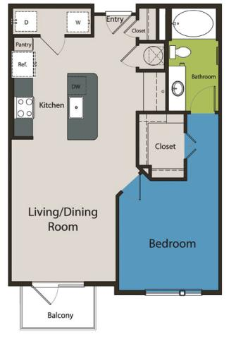 783 sq. ft. A1.3 floor plan
