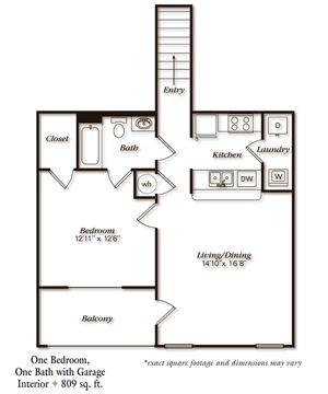 809 sq. ft. A1UG floor plan