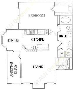 797 sq. ft. CA floor plan