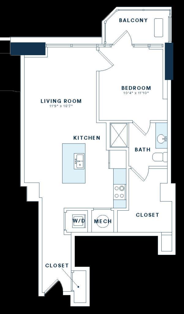 769 sq. ft. A7 floor plan