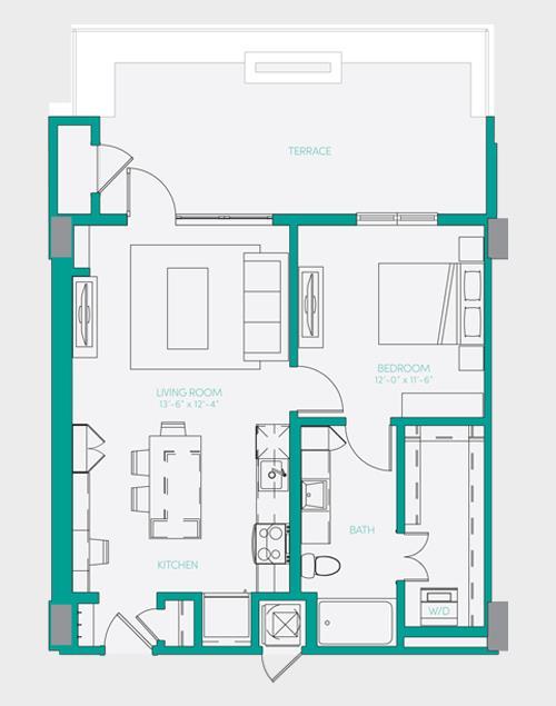718 sq. ft. A1.3 floor plan