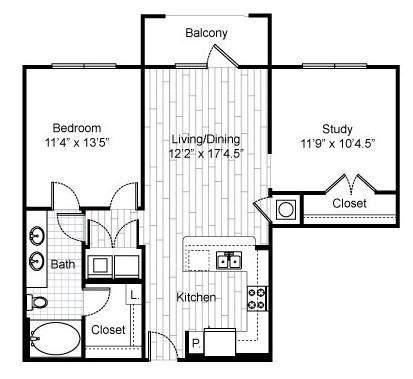 922 sq. ft. C3 floor plan