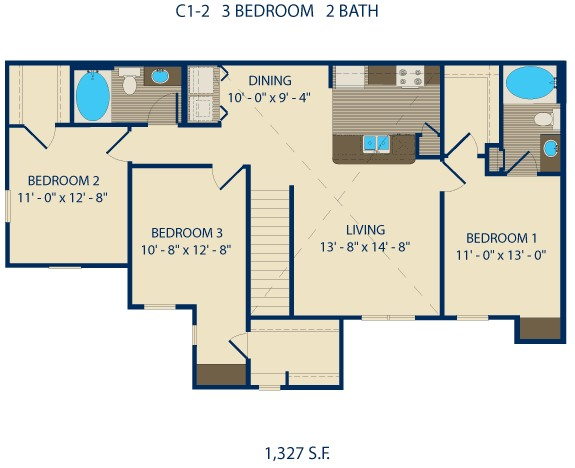 1,136 sq. ft. HOLLY floor plan