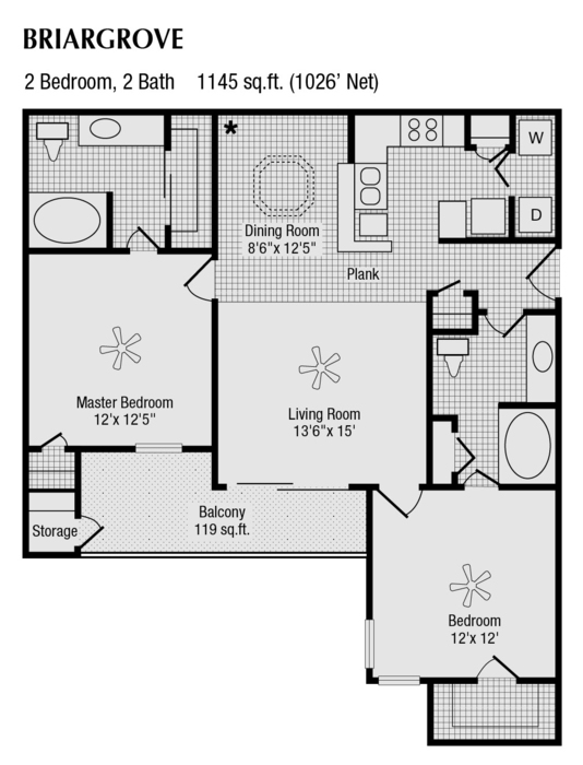 1,026 sq. ft. to 1,145 sq. ft. F floor plan