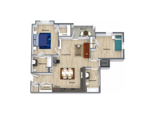 1,024 sq. ft. 60% floor plan