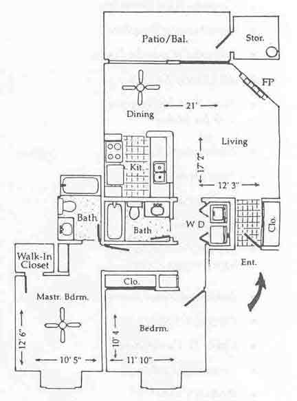 1,014 sq. ft. B-2 floor plan