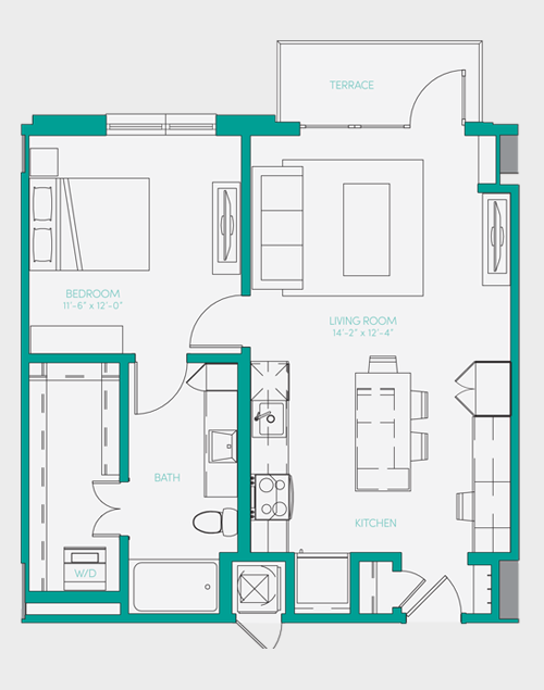 729 sq. ft. A1.5 floor plan