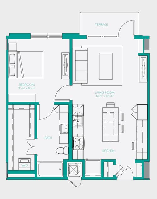 729 sq. ft. A1.5 floor plan