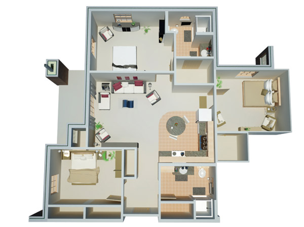 1,206 sq. ft. A floor plan