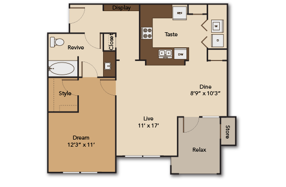878 sq. ft. A6 floor plan