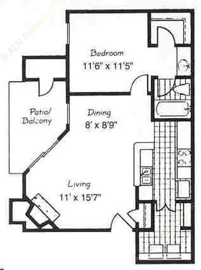 670 sq. ft. A2/MADRID floor plan