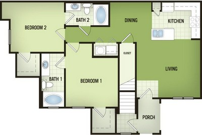 1,068 sq. ft. B1-G floor plan