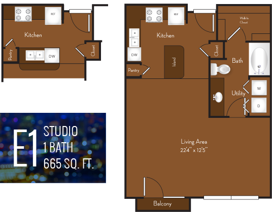 665 sq. ft. E1 floor plan