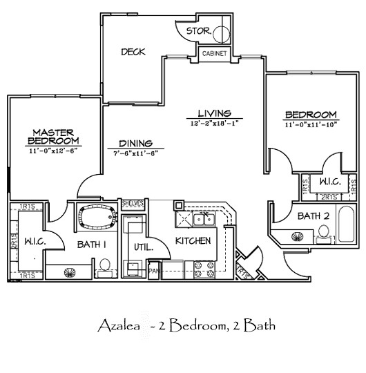 1,032 sq. ft. to 1,056 sq. ft. AZALEA floor plan