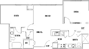 895 sq. ft. CHDWK DELUXE floor plan