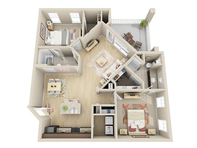 1,125 sq. ft. B4 floor plan