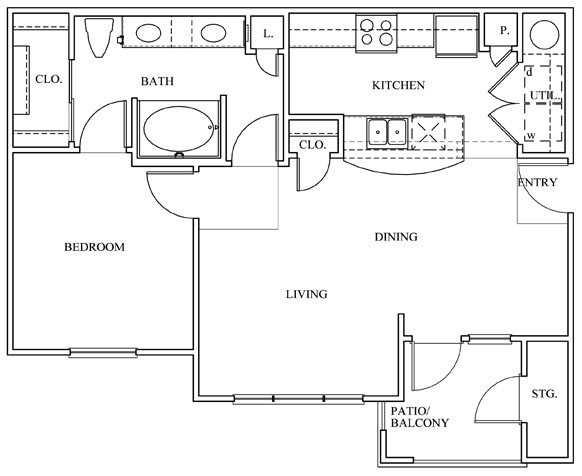 758 sq. ft. 11D-E floor plan