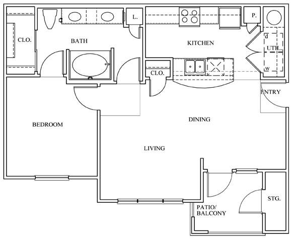 758 sq. ft. 11D-E floor plan
