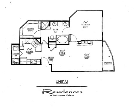 775 sq. ft. A1 floor plan