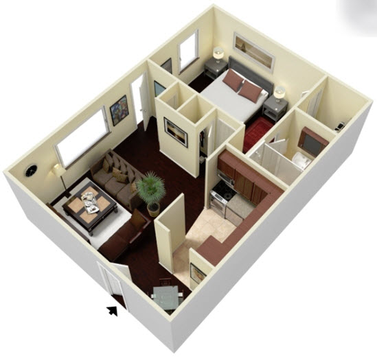 604 sq. ft. E2 floor plan