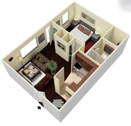 604 sq. ft. E2 floor plan