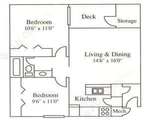896 sq. ft. B2 floor plan