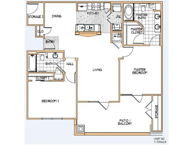 1,135 sq. ft. B2 floor plan