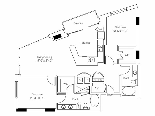1,318 sq. ft. B2 floor plan