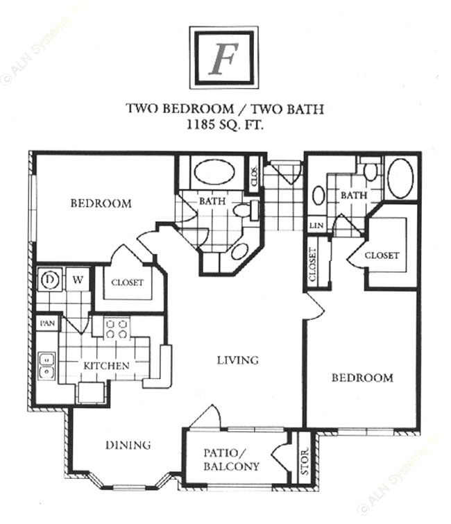 1,185 sq. ft. F floor plan