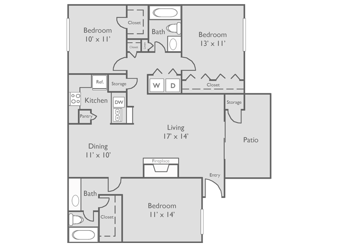 1,141 sq. ft. F floor plan