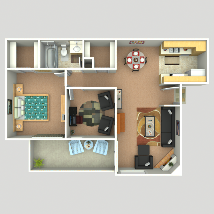 746 sq. ft. A3 floor plan