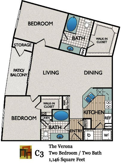 1,146 sq. ft. Verona floor plan